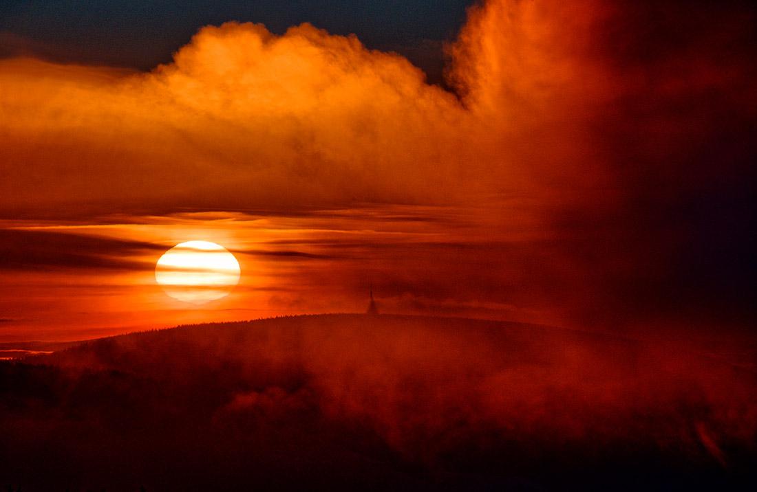 Východ slunce nad Černou horou, Krkonoše