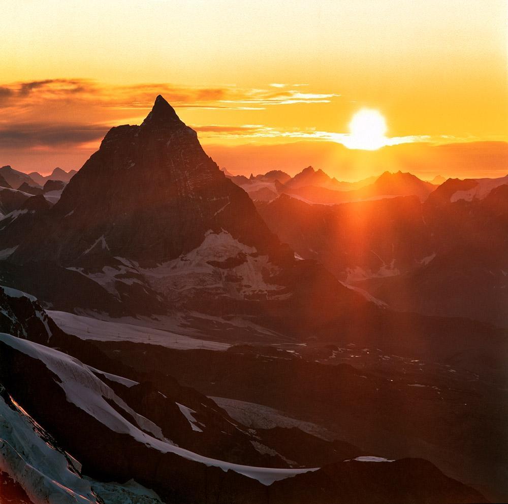 Sunset, Matterhorn, Walliské Alpy
